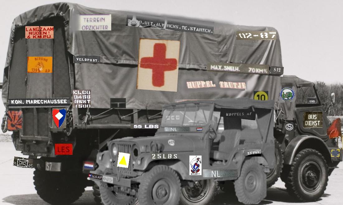 Markeringen, opschriften, vlakken, borden, vlaggen en plakkertjes op KL-legervoertuigen tijdens de Koude Oorlog.
